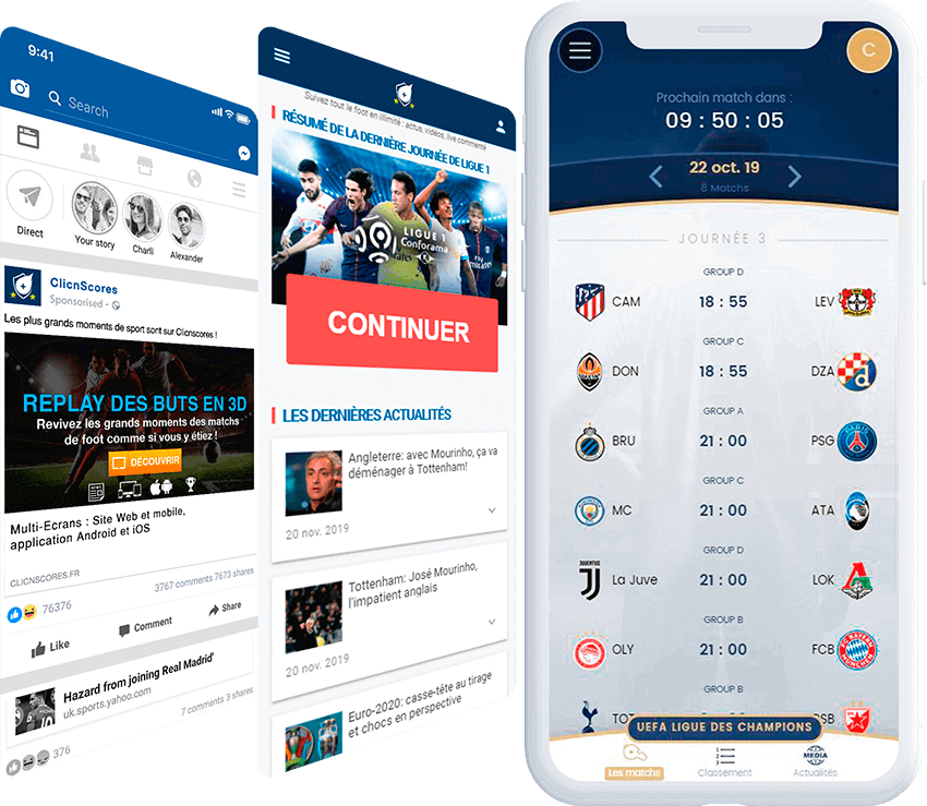 ClicnScores mobile screen with ad, and landing page screens