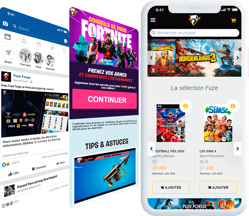 FuzeForge mobile screen with ad, and landing page screens