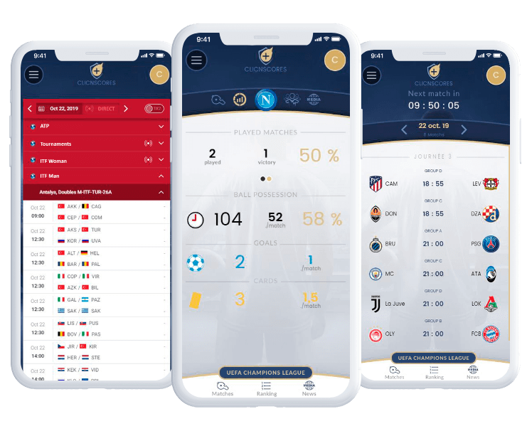 Clicnscores product screens